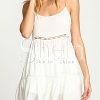 White Spaghetti Strap Hollow Shift Dress -SheIn(Sheinside)