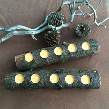 2 PC Fireplace Log Candle Holders, Reclaimed Tree Branches, Rustic Wedding Decor, Log Centerpiece, Holiday Mantel, Patio Candle Holders