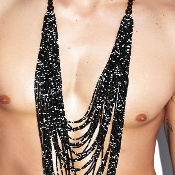Beaded Cowl Pectoral Necklace- Black