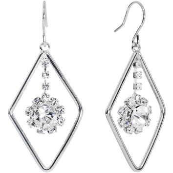 Silver Tone Gem Drop Diamond Outline Dangle Earrings