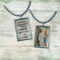 "Army Girlfriend Pendant  Soldered glass Art Pendant  ""proving to everyone camo"""