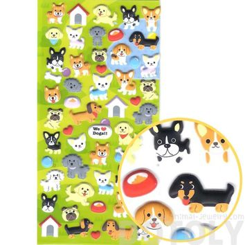 Cartoon Puppy Dog Shaped Japanese Animal Themed Puffy Stickers for Scrapbooking