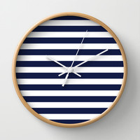 Stripe Horizontal Navy Blue Wall Clock by Beautiful Homes