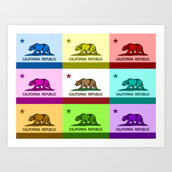 California Republic Flag Colorful Design Art Print by NorCal