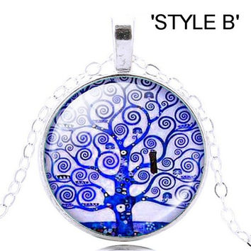 Life Tree Pendant Necklace. Various color Tree of Life pendant on a silver necklace. Life tree pendant necklace