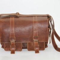 Brown Leather Satchel Messenger Briefcase by WyntopiaLeather