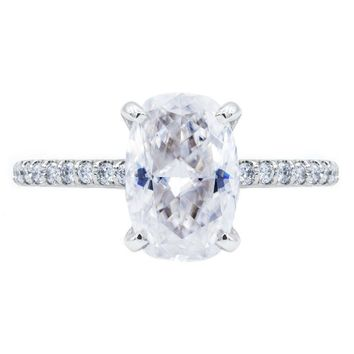 Elongated Skinny Cushion Crushed Ice Moissanite 4 Prongs Diamond Accent Ice Solitaire Ring