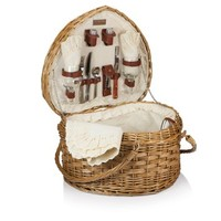 Picnic Time Willow Heart Picnic Basket with Deluxe Service for Two