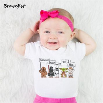 Star Wars Force Episode 1 2 3 4 5 Baby Bodysuits Newborn Clothes Body Short Sleeve Bodysuites Summer Infant Jumpsuit Girl Next Baby Clothes  Style 0-24M AT_72_6