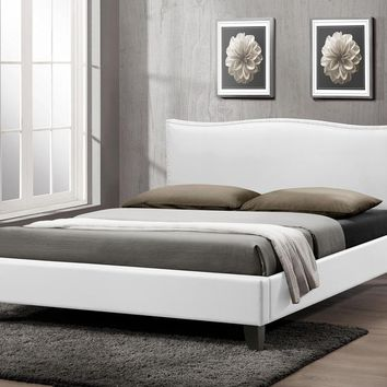 Baxton Studio Battersby White Modern Bed with Upholstered Headboard - Queen Size  Set of