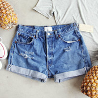 Vintage Cuffed Jean Shorts- Medium Wash