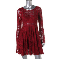 Free People Womens Lace Bell Sleeves Cocktail Dress