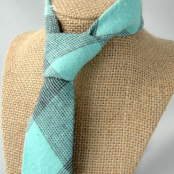 Men's Necktie - Cotton Flannel Mint Plaid - SKINNY or SLIM