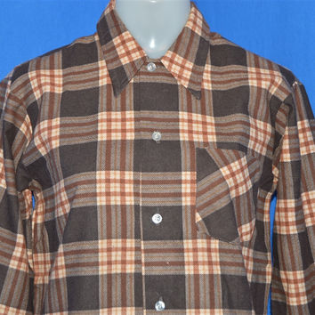 70s Young Generation Brown White Flannel Deadstock Shirt Small