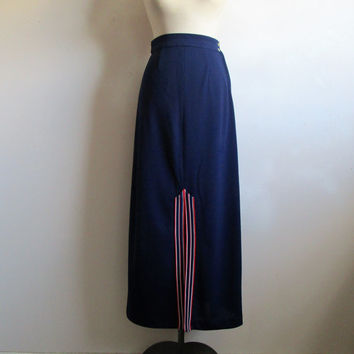 Vintage 1970s Maxi Skirt Dark Blue Front Slit Textured Poly Knit 70s Long Skirt Small
