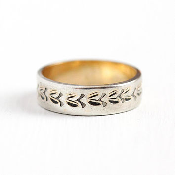 Vintage Leaf Band - Sterling Silver & Gold Filled Eternity Ring - Size 6 1/2 Retro 1950s Cigar Band Floral Nature Stacking Two Tone Jewelry