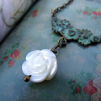 White Rose necklace Mother of Pearl Patina handmade nature jewelry