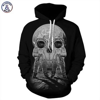Mr.1991INC Autumn Winter Fashion Men/women Hoodies With Cap Print Astronaut Skull Couple Hooded Hoody 3d Sweatshirts Pullovers