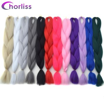 "Chorliss 24"" Pure Color Jumbo Braids Crochet Hair Extensions Synthetic Ombre Braiding Hair"