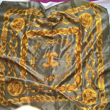 Vtg Chanel Scarf With Yellow/ Gold Chain Pattern