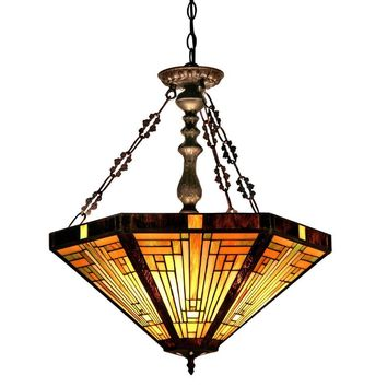 """INNESTiffany-style 3 Light Mission Inverted Ceiling Pendant Fixture 22"""" Shade"""