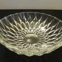 Vintage crystal glass serving bowl three footed dish from West Germany