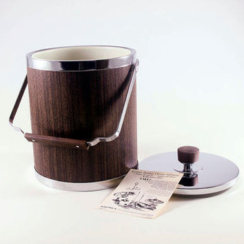 Vintage 1950 Mad Men Brown Faux Wood Grain Ice Bucket With Box and Paperwork By Kromex NOS NIB