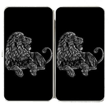 'Majestic Lion' Big Cat Jungle King Black & White Artwork - Taiga Hinge Wallet Clutch