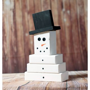 Wooden Snowman, Christmas Mantle Decoration