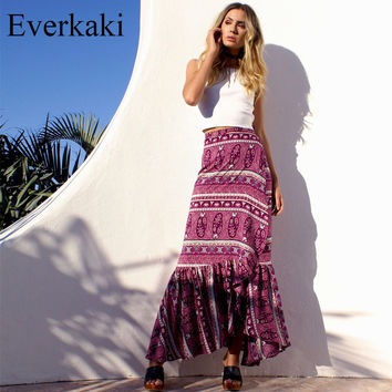 Everkaki 2017 Maxi Summer Skirt Beach Long Casual Skirts Fashion New High Waist Womens Gypsy Boho Tribal Floral Skirts
