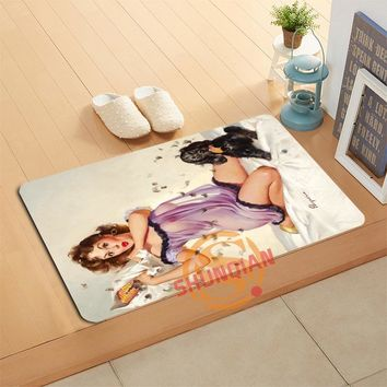 Custom Pin Up Girl Art Doormat Bath Mats Foot Pad Home Decor Bathroom Mats Door Mat Floor Mat A320#19