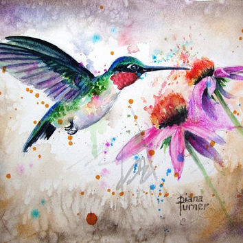 Watercolors Paintings Original Hummingbird, Watercolor Paintings Original, Giclee Print,  Hummingbird painting Wall Art Home Decor 8 x 10
