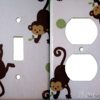 Light Switch or Outlet Cover - Made to match Mod Pod Pop Monkey Nursery Decor - Your choice