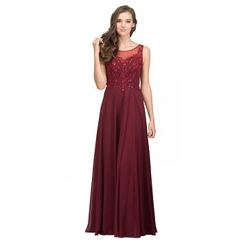 Burgundy Appliqued Bodice A-line Long Formal Dress