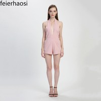 feierhaosi women sexy playsuit bodycon overalls bodysuit pink backless romper with pocket clothing jumpsuits for women F1737