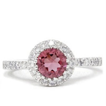 0.81CT Pave Halo Pink Tourmaline Diamond Ring 14K White Gold