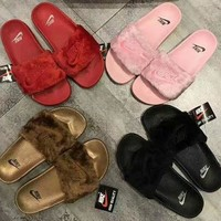 Nike Woman Fashion Fur Slipper Sandals Shoes