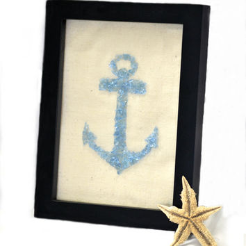 Sea Glass Art, Sea Glass Anchor Art, Blue Anchor Art, Blue Glass Anchor, Framed Anchor Glass Art, Beach Glass Art, Glass Mosaic Anchor