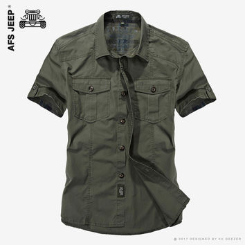 Cotton Casual Shirts Men New Short Sleeve Loose Army Military Tooling Pockets Breathable  Dress Shirt
