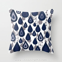 Blue Raindrop Modern 16x16 Graphic Decorative Cover Couch Art Geometric Grey Ash Charcoal Rain Falling Drops Cobalt Navy Abstract Boho Chic