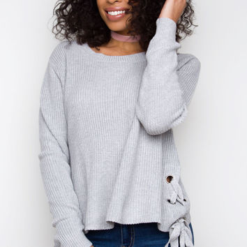 Much Love Lace Up Sweater - Gray