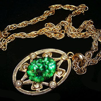 "Whiting Davis Pendant Necklace Peking Green Glass & Rhinestones Gold Metal 24"" Vintage 1960s"