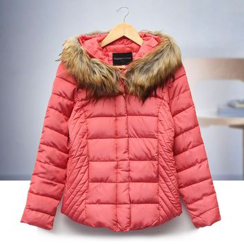 Fashion Womens Winter Warm Fur Collar Coat Leather Cotton Jackets Overcoat Parka