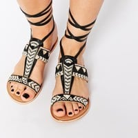 New Look Fizz Wizz Leather Black Tribal Tie Up Flat Sandals