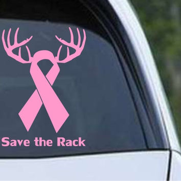 Save the Rack Breast Cancer Ribbon Die Cut Vinyl Decal Sticker