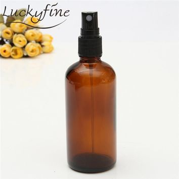 100ml Glass Amber Lotion Pump Atomizer Bottle Essential Oil Perfume Water Vial Black Lid Spray Bottles Women Cosmetic Container