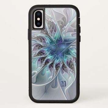 Abstract Modern Fractal Flower With Blue Monogram iPhone X Case