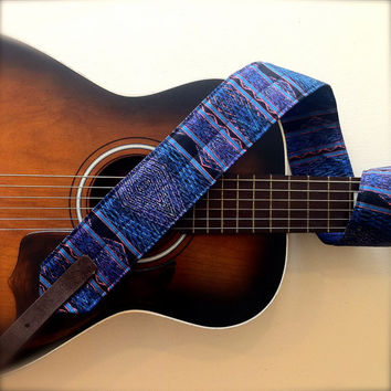 Aztec Blue, Soft and Wide Guitar Strap