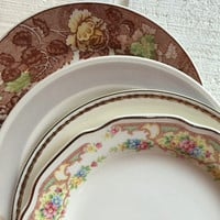Vintage antique mismatched china salad / dessert plates for weddings, tea parties, bridal luncheons, showers, floral and gold trim plates