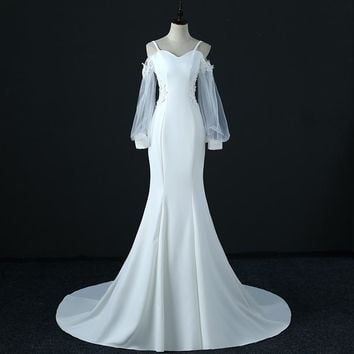 Wedding Dress Tulle Satin Wedding Gowns Sexy Backless Long Tail Wedding Bride Dresses